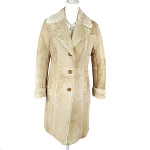 Express Faux Fur Lined Leather Suede Coat